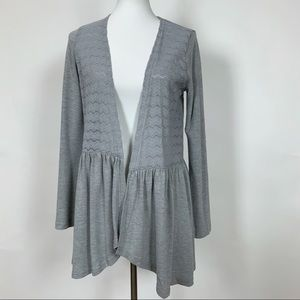 Suzanne Betro NWT Gray Lace Open Front Cardigan